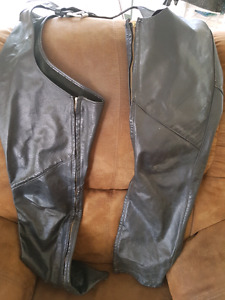 Leather coat and chaps