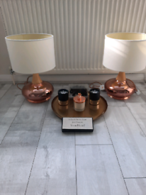 (*T&C's apply) pair of lamps with white light shades for SALE