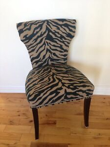 Gorgeous Teal and Beige Occasional Chair