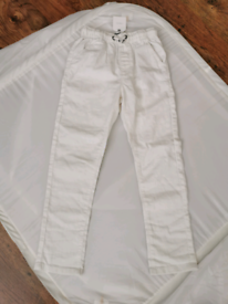 Next Boys White Linen Blend Pull-on Trousers 6-7 years