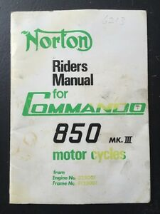 Norton Commando 850 Riders Manual
