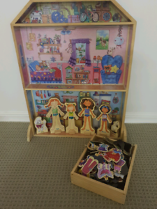 Wooden magnet dolls, doll house and over 100 magnet accessories