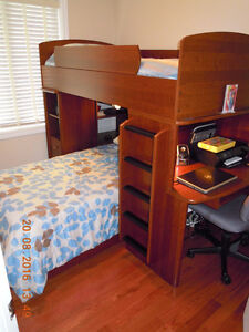 Beautiful Canadian -Made Bunk Bed w/ Built in Desk & Storage