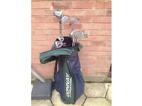 Set of Donnay Pro One golf clubs with bag