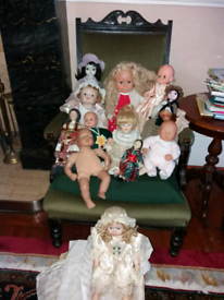Collection of old dolls