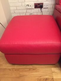 Real leather red footstool