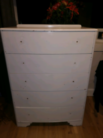 Tall Chest of Vintage Drawers 5 Drawers Dresser Bow Front