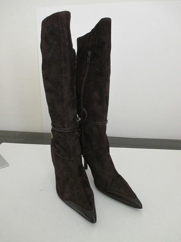 $415 Designer Karen Millen dark brown suede with strappy wrap design boots NWOB
