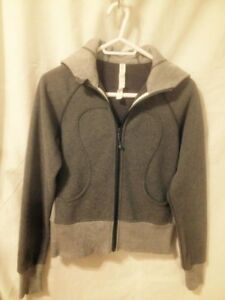 New Lululemon Dark/Light Grey Butterfly Motif Scuba Hoodie Sz 6
