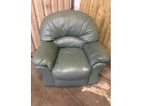 Comfy Green Leather Reclining Armchair - FREE DELIVERY