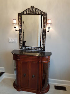 Wrought iron mirror with lights
