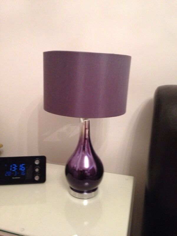 pair of next plum purple ombr glass table lamps with. Black Bedroom Furniture Sets. Home Design Ideas