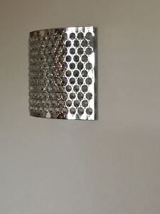Modern Brushed Chrome and Crystal Wall Sconces