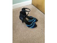 Unusual navy and turquoise heels