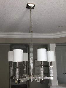 6-Light Chandelier with Crystal Cube and Polished Nickel accents