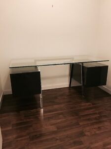 Bensen Homework Desk - grey lacquer w/ glass top
