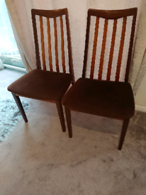 Original, as new,retro vintage mid century G Plan dining chairs