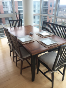 Crate & Barrel Dining Room Table & Village Grigio Dining Chairs