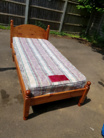 Single pine bed with mattress, delivery available