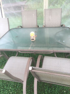 Large Patio table and 6 chairs