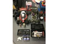Two Nitro RC cars and bits. Hyper Nitro 7. GV CAGE