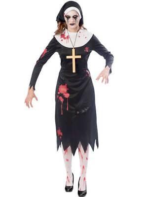 Adults Ladies Zombie Nun Fancy Dress Costume Satanic Sister Act Halloween Womens
