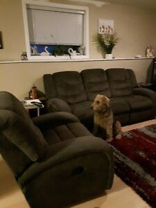 Grey Recinling Sofa and Matching Rocking full size chair