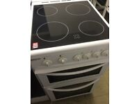 Beko white Electric Cooker With Gloss Black Ceramic top