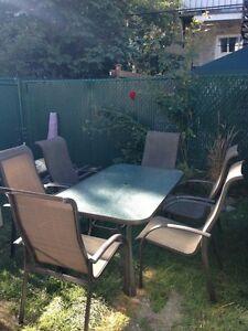 Meuble set de patio extérieur 6 places