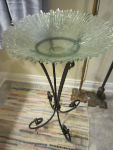 Glass Bowl with Iron Stand