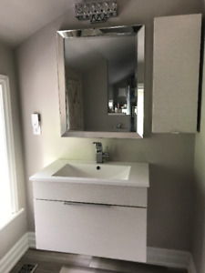 """36"""" Single Floating Vanity w/ Wall Mounted Cabinet (Cutler)"""