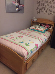 Twin bed with shelf/drawers and matching dresser