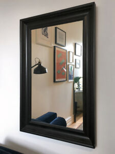 LARGE BLACK-BROWN WALL MIRROR