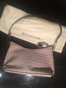 BVLGARI Logo Mania Canvas Leather Hobo Shoulder Bag Beige Bulgar