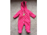 Joules quilted snuggle snow suit 0-3 months