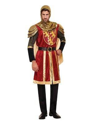 Adult Men Knight Crusader Costume Fancy Dress Medieval Party