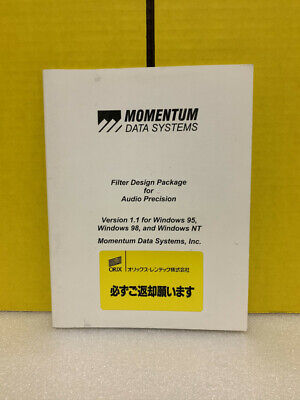Momentum Data Systems Filter Design Package For Audio Precision Ver 1.1 Manual