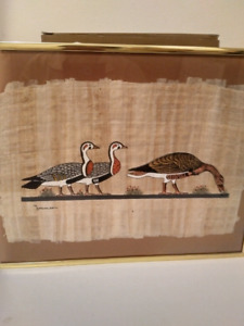 Gold frame picture with three geese