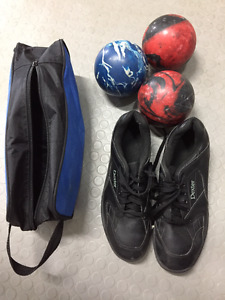 5-pin bowling balls with bag.  Also bowling shoes