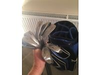 Ben Sayers golf clubs 5-SW and Motocaddy bag
