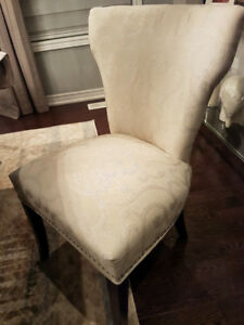 Dining room chairs - Patterned Fabric - Cream/beige