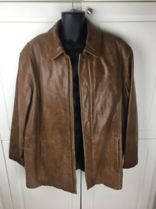 MENS DANIER BROWN LEATHER JACKET WITH REMOVABLE ZIPPER LINER