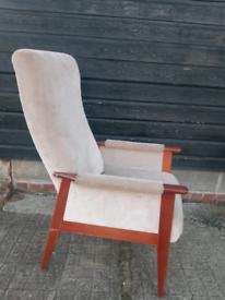 Vintage retro mid century velvet wooden armchair lounge chair 60s 70s