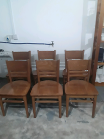 NOW REDUCED Very sturdy and we'll built pine wood dining table chairs