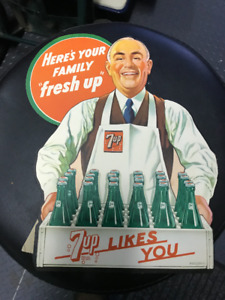 """VINTAGE 1948 """"7-UP LIKES YOU"""" CARDBOARD SIGN NOS"""