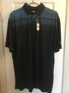 CALLAWAY GOLF MEN'S COOLING TEXTURED MODERN PRINT POLO (Large