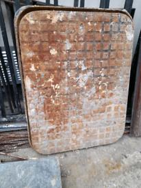 Cast iron manhole cover round corners £40