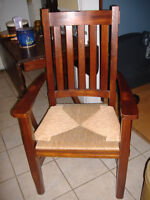 Set of 4 mission style chairs with rush seats - 80 for all 4