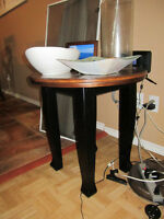 TWO DARK WOOD END TABLES - GREAT CONDITION