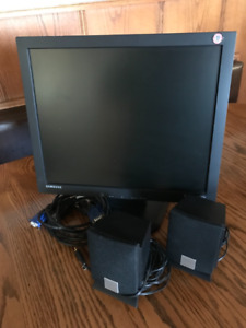 Computer monitor and speakers